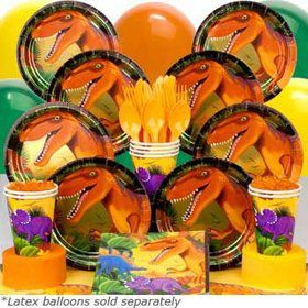 Dinosaur Birthday Party Deluxe Tableware Birthday Kit Serves 8