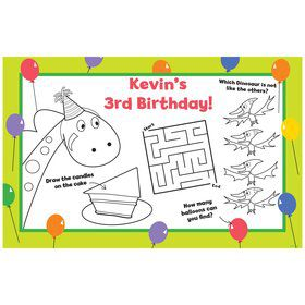 Dinosaur Birthday Personalized Activity Mat (8 pack)