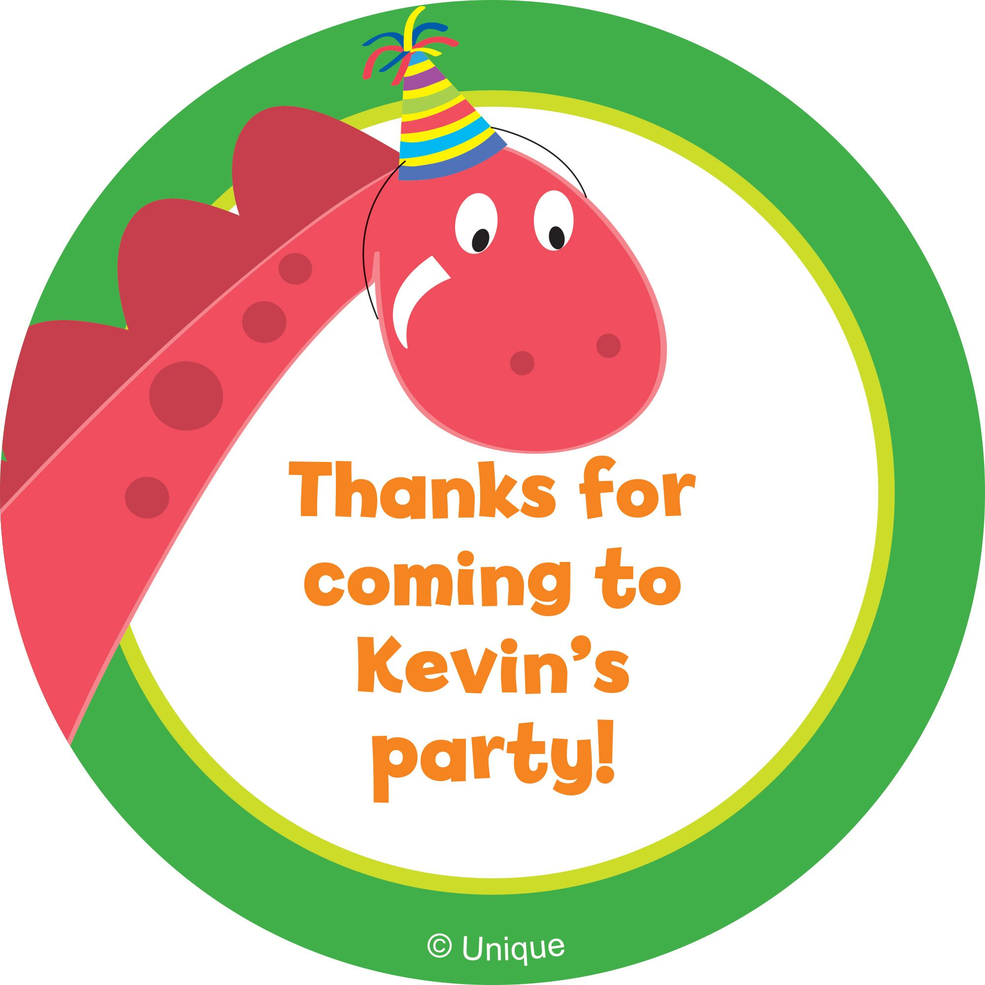 Dinosaur Birthday Personalized Sticker - Party Supplies BB101611