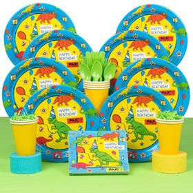 Dinosaur Fun Deluxe Birthday Party Tableware Kit (Serves 8)