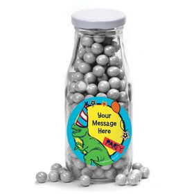 Dinosaur Fun Personalized Glass Milk Bottles (12 Count)