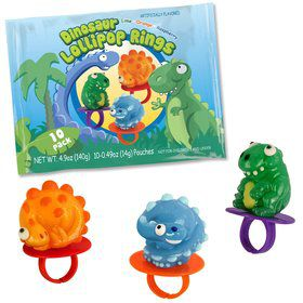 Dinosaur Lollipop Rings (10 Pack)