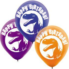 "Dinosaur Party 12"" Latex Balloons (6 Pack)"