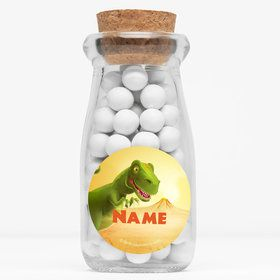 "Dinosaur Party Personalized 4"" Glass Milk Jars (Set of 12)"