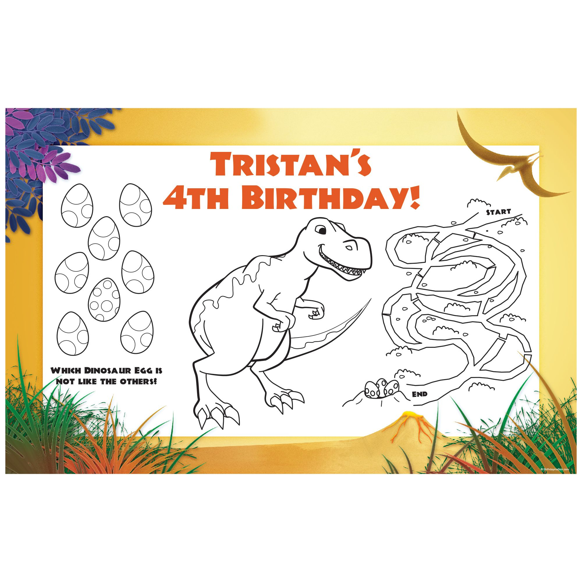 Dinosaur Birthday Party Supplies Personalized Activity Mat (8 pack) BB1005AM