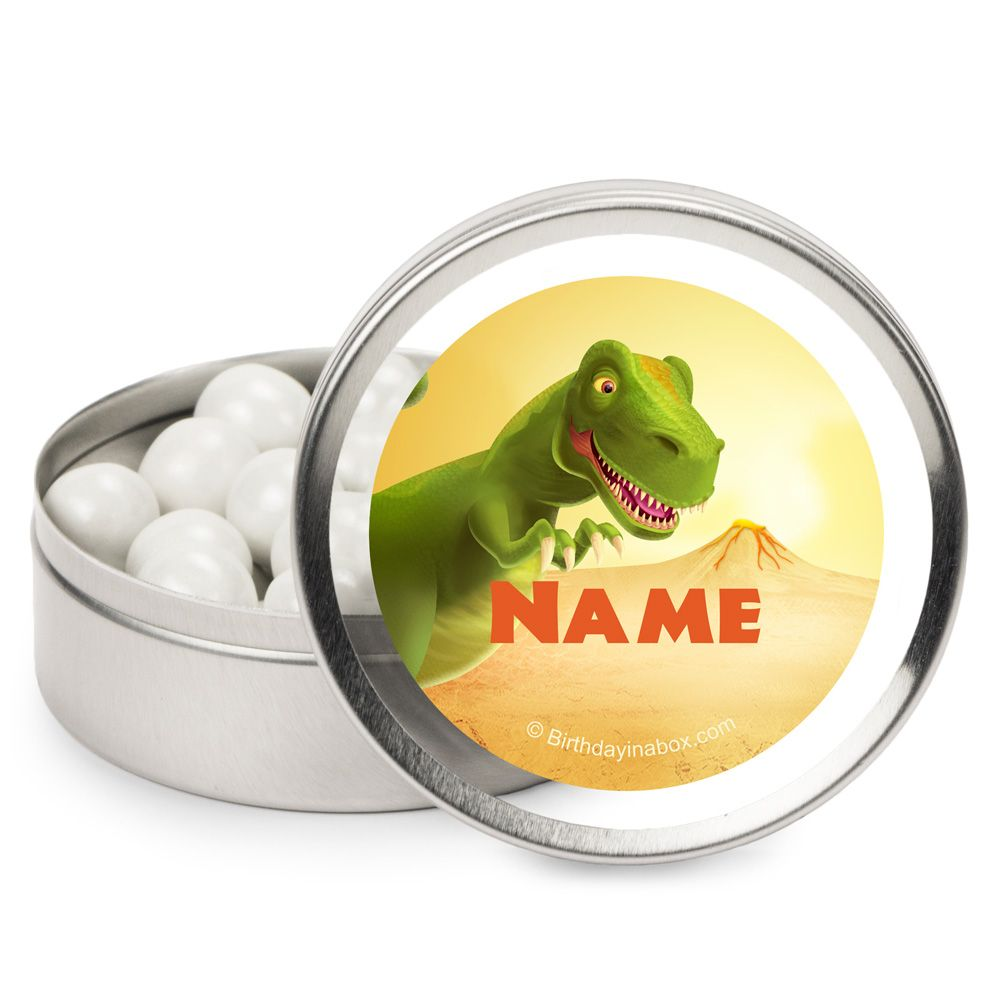 Dinosaur Birthday Party Supplies Personalized Candy Tins (12 Pack) BB1005MT