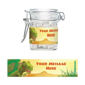 Dinosaur Party Personalized Glass Apothecary Jars (10 Count)