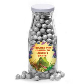 Dinosaur Party Personalized Glass Milk Bottles (12 Count)