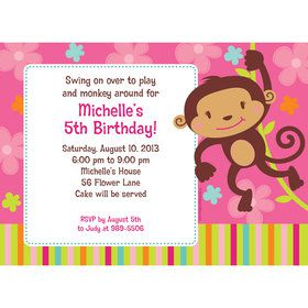 Flower Monkey Personalized Invitation (Each)