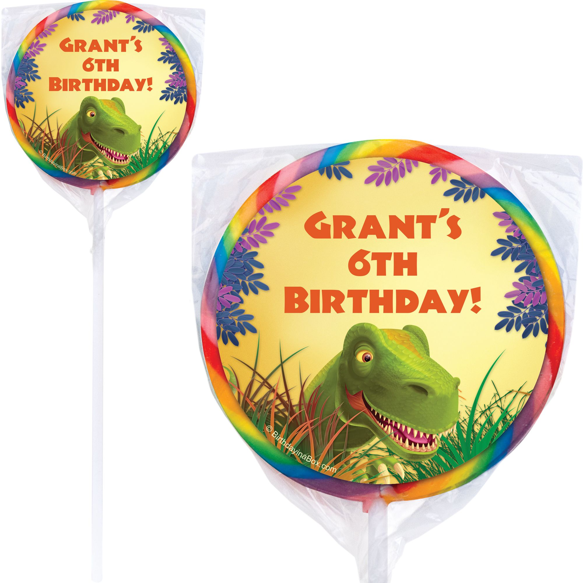 Dinosaur Birthday Party Supplies Personalized Lollipops (Pack Of 12) BB1005PP