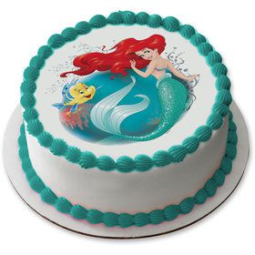 "Disney Little Mermaid 7.5"" Round Edible Cake Topper (Each)"