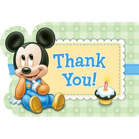 Disney Mickey 1st Birthday Thank-You Notes