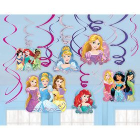 Disney Princess Foil Swirl Hanging Decorations (12 Pack)