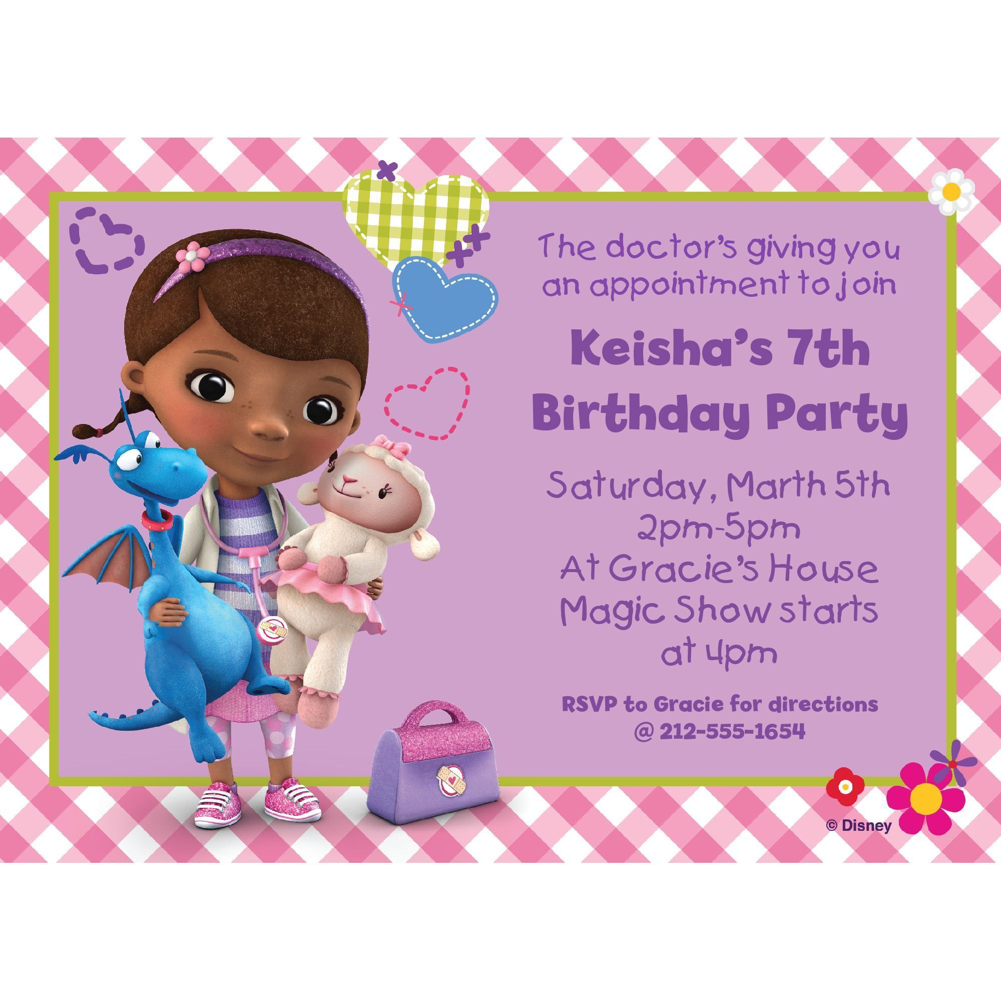 Doc McStuffins Personalized Invitation - Birthday Custom Invitations ...