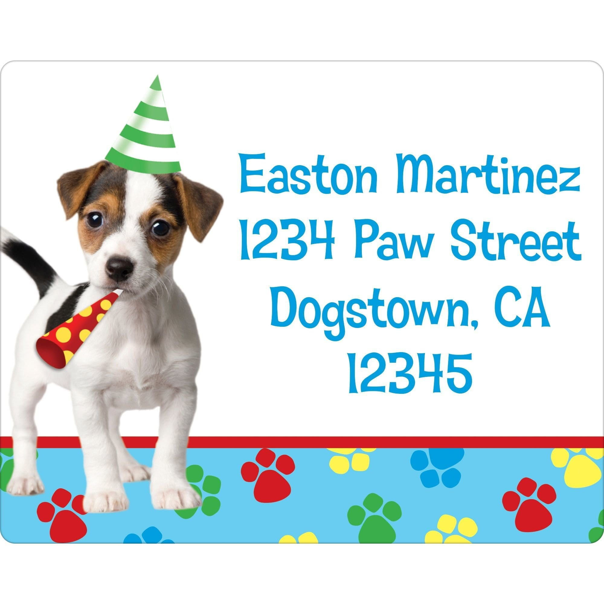 dog party personalized address label return address labels party