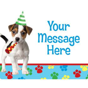 Dog Party Personalized Rectangular Stickers (Sheet of 15) Sh
