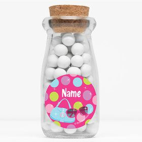 "Doll Party Personalized 4"" Glass Milk Jars (Set of 12)"