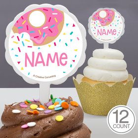 Donut Personalized Cupcake Picks (12 Count)