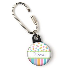 "Dots and Stripes Baby Shower Personalized 1"" Carabiner (Each)"