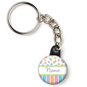 "Dots and Stripes Baby Shower Personalized 1"" Mini Key Chain (Each)"