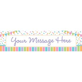 Dots and Stripes Baby Shower Personalized Banner (Each)
