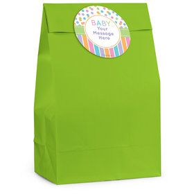 Dots and Stripes Baby Shower Personalized Favor Bag (12 Pack)