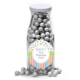 Dots and Stripes Baby Shower Personalized Glass Milk Bottles (10 Count)