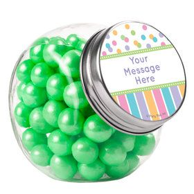 Dots and Stripes Baby Shower Personalized Plain Glass Jars (12 Count)