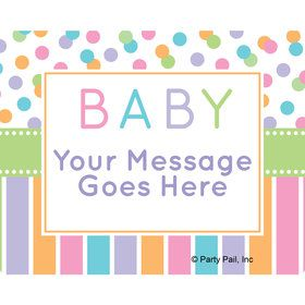 Dots and Stripes Baby Shower Personalized Rectangular Stickers (Sheet of 15)