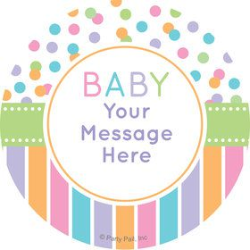 Dots and Stripes Baby Shower Personalized Stickers (Sheet of 12)