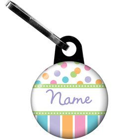 Dots and Stripes Baby Shower Personalized Zipper Pull (Each)