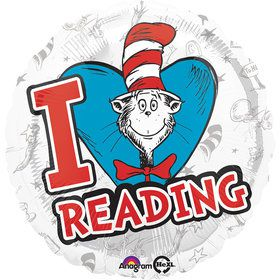 "Dr Seuss 18"" Hats Off To Reading Balloon (Each)"