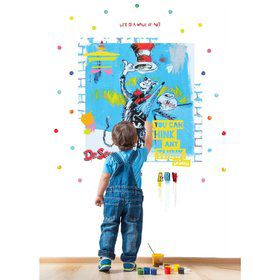 Dr. Seuss Street Art Cat in the Hat Think Inspirational Quote Giant Wall Decal