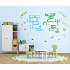 Dr. Seuss Street Art Think and Wonder Inspirational Quote Giant Wall Decal
