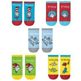 Dr. Seuss Weekday No Show Socks 5 pks