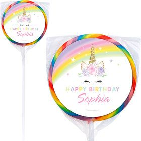 "Dreamy Unicorn Personalized 3"" Lollipops (12 Pack)"