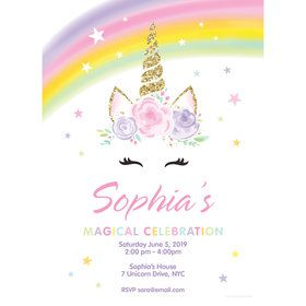 Dreamy Unicorn Personalized Invitation (Each)