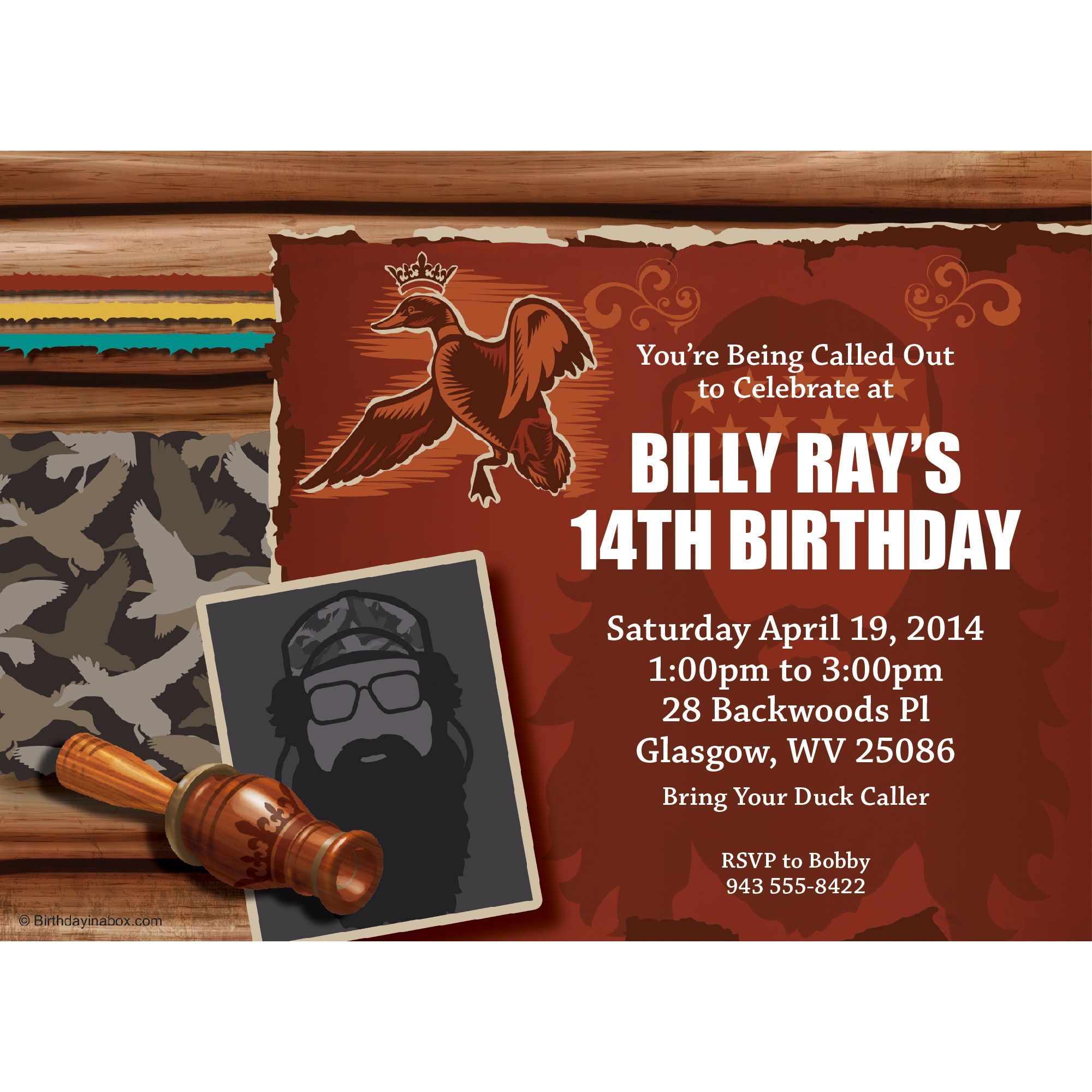 Duck Dynasty Personalized Invitation (Each) - Party Supplies BB1390IN