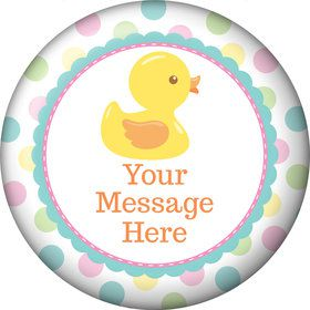 Duckie Dots Personalized Button (Each)