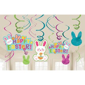 Easter Foil Swirl Hanging Decorations (6 Piece)