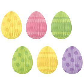 Easter Mini Egg Shaped Pleated Paper Decorations (Each)