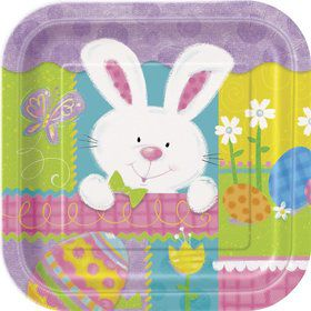 "Easter Patchwork Bunny 7"" Cake Plates (10 Pack)"