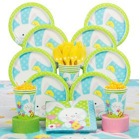 Easter Patchwork Bunny Party Deluxe Tableware Kit Serves 8