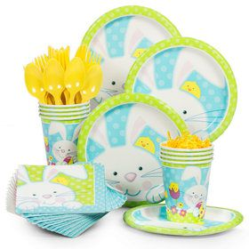 Easter Patchwork Bunny Party Standard Tableware Kit Serves 8