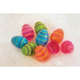 Easter Striped Plastic Eggs(8)