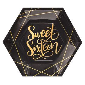 Elegant Gold Sweet 16 Lunch Plates (8)