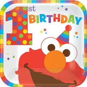 "Elmo Turns One 9"" Luncheon Plates (8 Count)"