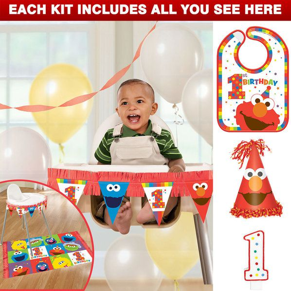 Elmo Turns One High Chair Decoration Kit Elmo S 1st