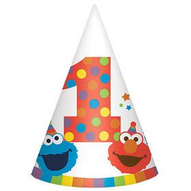 Elmo Turns One Paper Cone Hats (8 Count)