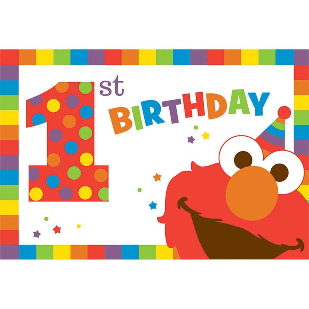 Elmo Turns One Postcard Invitations Elmo S 1st Birthday